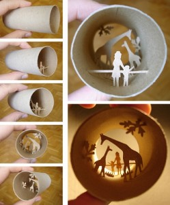 ساخت اثر هنری در داخل رول های دستمال کاغذی
