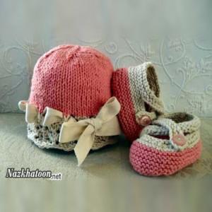 کلاه و کفش بافتنی دخترانه